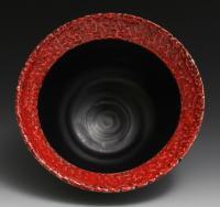 Handmade Black and Red Bowl, 20oz, wheel thrown
