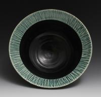 Handmade Black and Green Bowl, 20oz, wheel thrown